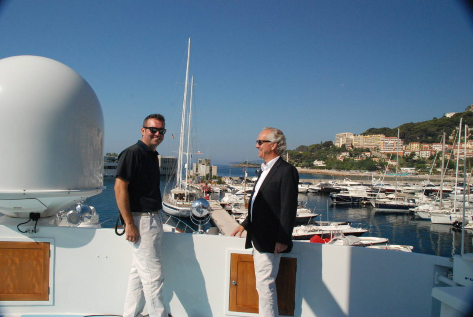 Meeting with superyacht insurance clients about their coverage onboard their superyacht.