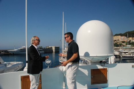Bob Raymond with Tim Klemarow onboard M/Y Strangelove in Port Cap d' Ail France